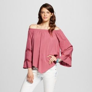 Xhilaration off shoulder peasant blouse large